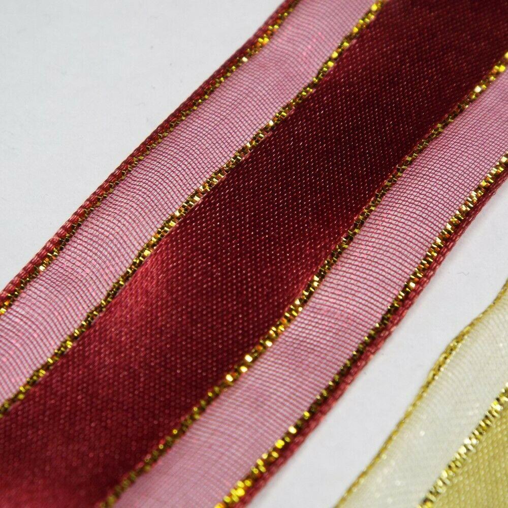 25mm Metallic Gold Stripe Satin Organza Ribbon Christmas Wedding Etc BUY 1 2 4m+