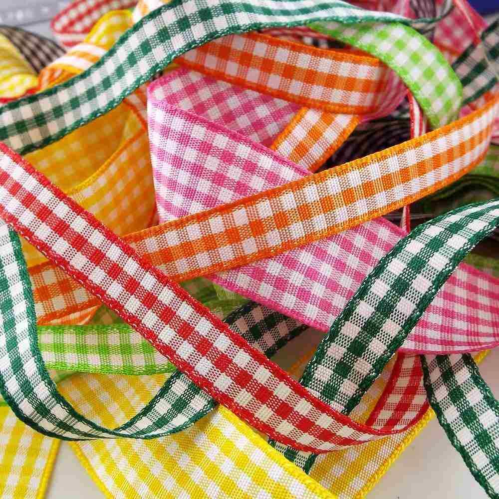 4m Berisfords Gingham Ribbon 15mm Various Colours