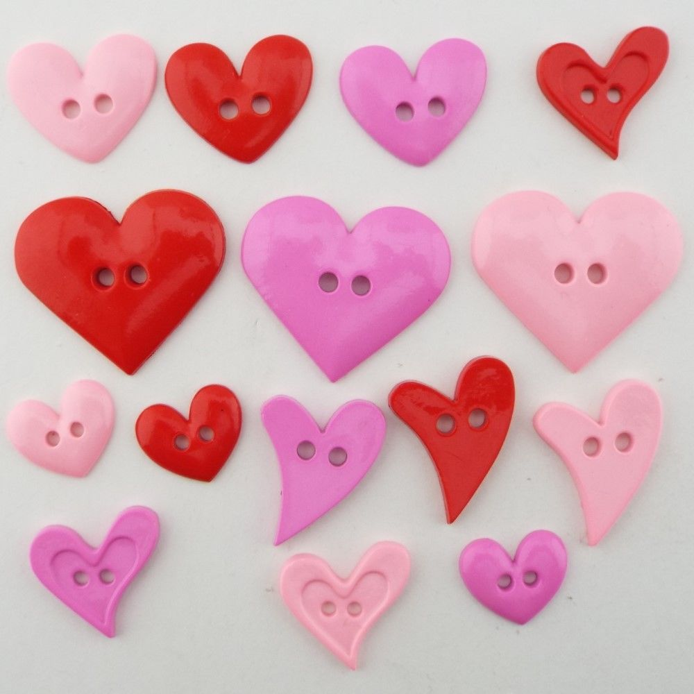 Baby Pink, Cerise, Red  Plastic Heart Button Shirt Craft Decoration BUY 2 4  8