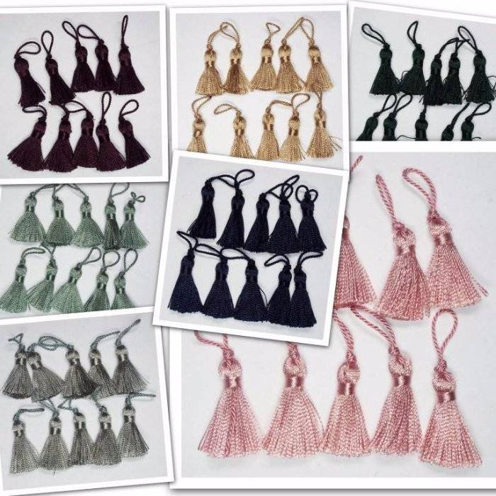 20 or 40 Mini Tassels  Aubergine,Pink,Green,Gold,Navy,Brown CLEARANCE  10