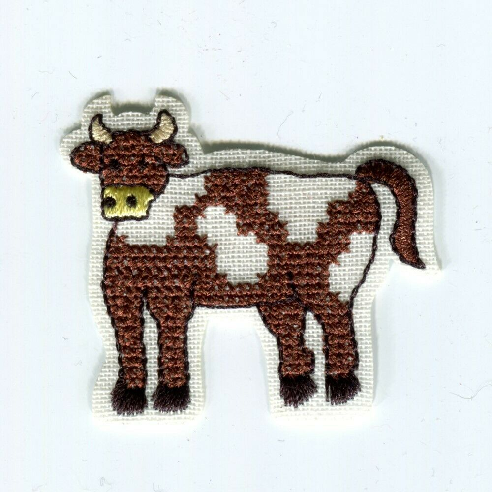 Cross Stitch Motif Animals Iron Or Sew On Patch Linen Hand Sewn Look Farm