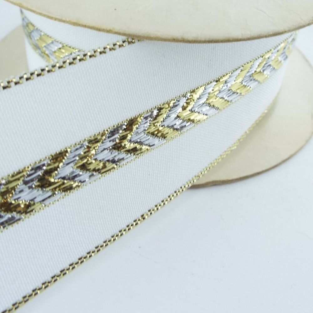 16 Styles Christmas Ribbon Gold Organza Wired Metallic Lame Cream Buy 1 2 4m G2