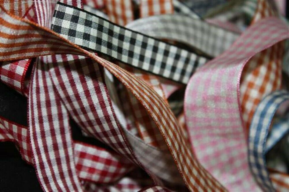 8COLOUR 10 15 25mm Rustic Bow Tie Tape Retro Gingham Style Ribbon BUY 1 2 4m+