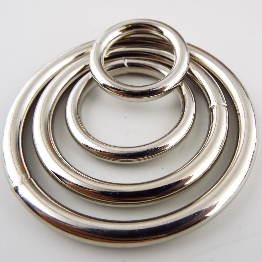 20 25 38 50mm Welded Solid Heavy Metal O Rings Silver Chrome Nickle ...